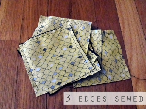 3 edges sewed inside out coaster