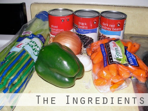 Ingredients for veggie chili