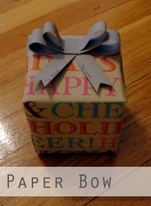 Paper bow on gift