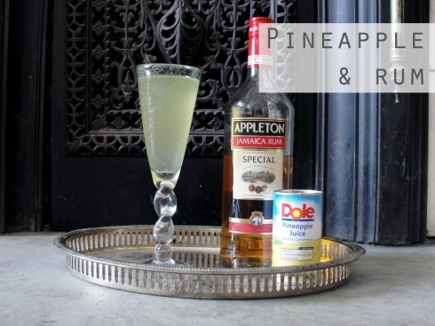 Pineapple and rum prosecco cocktail