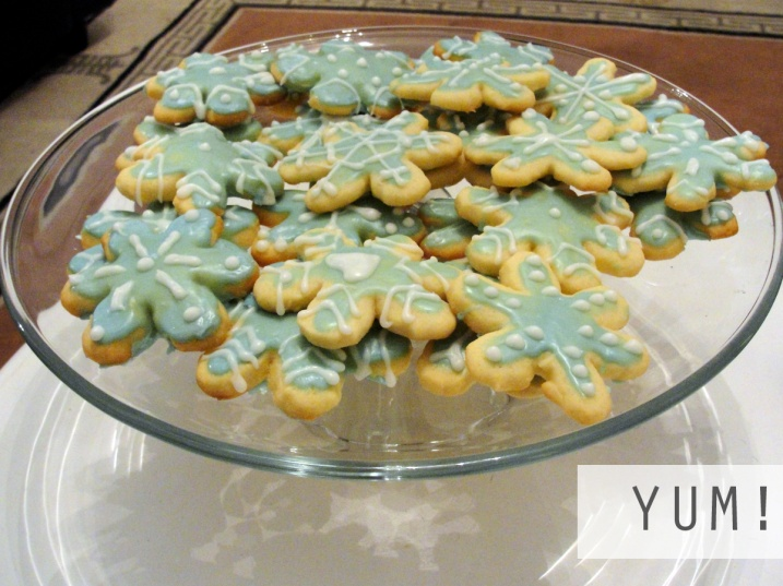 Snowflake cookies on a plate