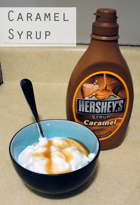 caramel syrup and plain yogurt