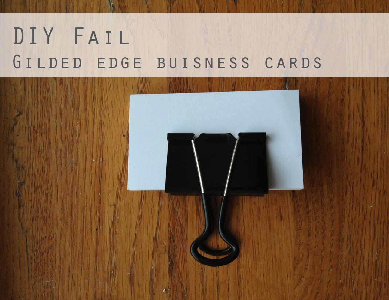 Diy fail gilded business cards the thrifty ginger diy fail cards to spray reheart Choice Image