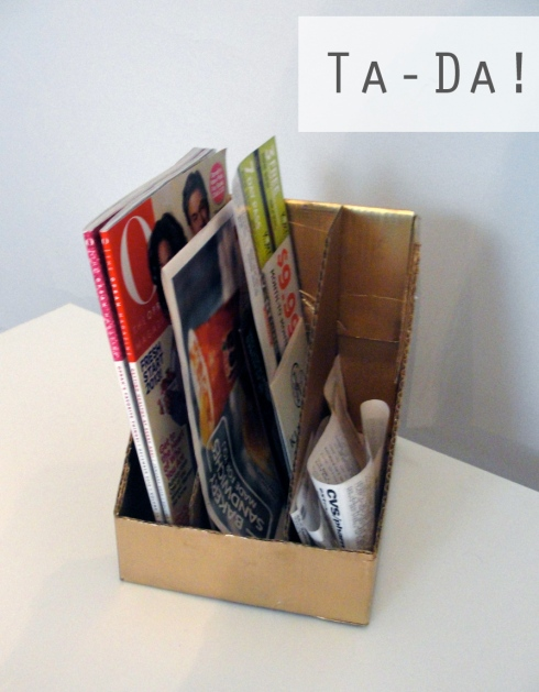 magazine rack in use