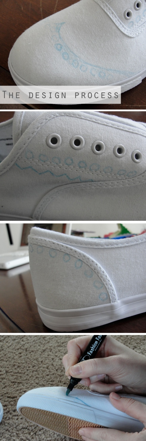 coloring oxford pattern onto white tennis shoes
