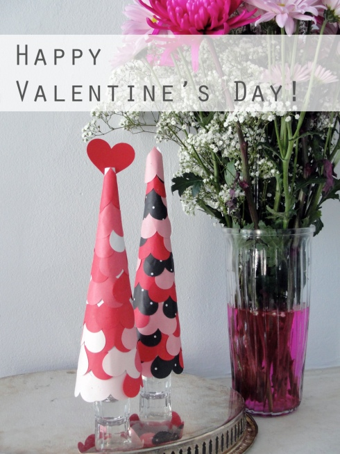 Valentines Day paper heart cones